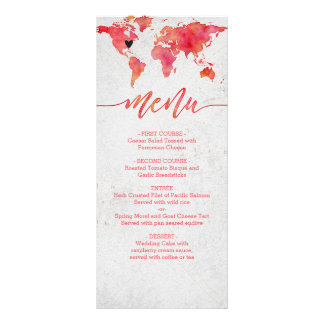 Watercolor-Weltkarten-Hochzeit in Urlaubsorts-Menü Werbekarte