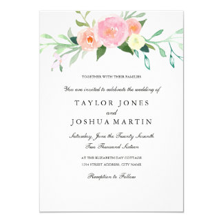 Watercolor-Wildblume-Hochzeits-Einladung 12,7 X 17,8 Cm Einladungskarte