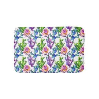 Watercolor-Wildblume-Kaktus-Muster Badematte