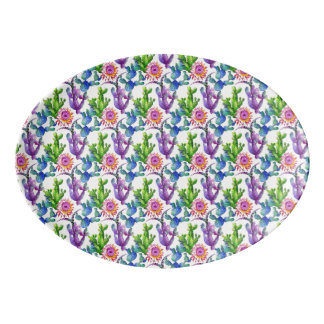 Watercolor-Wildblume-Kaktus-Muster Porzellan Servierplatte