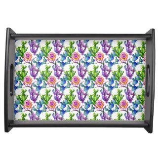 Watercolor-Wildblume-Kaktus-Muster Serviertablett