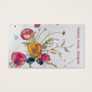 Watercolor-Wildblume-und Visitenkarte