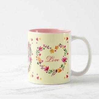 Watercolor-windt BlumenLiebe-Herz Foto Zweifarbige Tasse