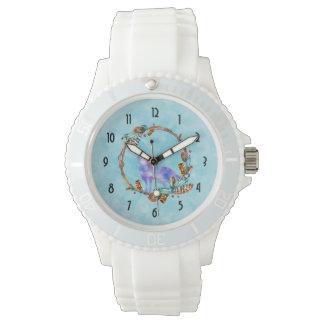 Watercolor-Wolf stehend in einem Boho ArtWreath Armbanduhr