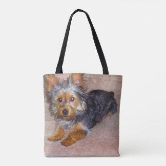 Watercolor Yorkie/Silkie Welpen-Tasche Tasche