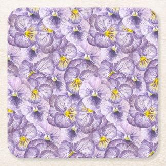 Watercolorblumenmuster mit violettem rechteckiger pappuntersetzer