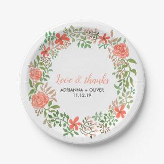 Watercolorblumenwreath-Hochzeits-Liebe und Dank Pappteller