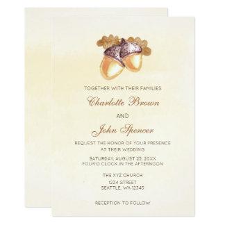 Watercoloreicheleiche verlässt Hochzeit im Herbst 12,7 X 17,8 Cm Einladungskarte