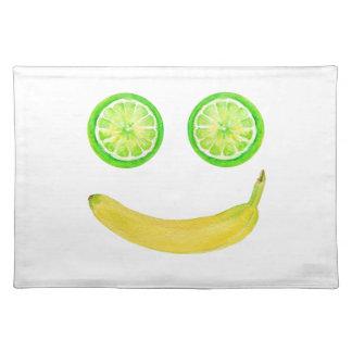 Watercolorfrucht-Smiley Tischset