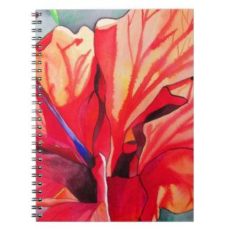 Watercolorkunst Blume des roten Hibiskus tropische Notizblock