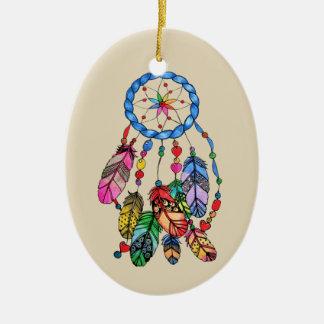 Watercolorregenbogen-Traumfänger u. inspirieren Keramik Ornament