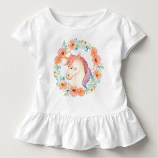 Watercolorunicorn-Wreath gekräuseltes Shirt