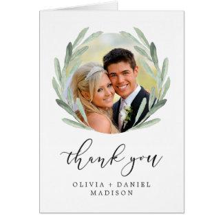 Watercolorwreath-elegante Hochzeit danken Ihnen Karte