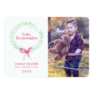 WatercolorWreath Frohe Weihnachten Foto 12,7 X 17,8 Cm Einladungskarte