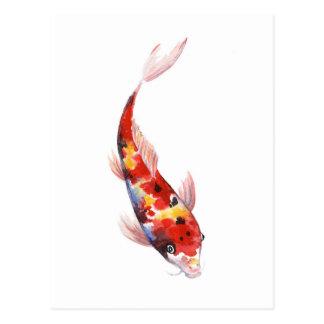 Watercolorzeichnen von Koi Karpfen Postkarte
