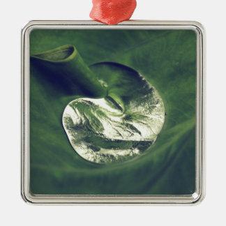 Waterdrop Quadratisches Silberfarbenes Ornament