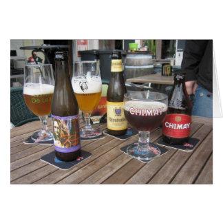 Waterhuis Tabelle mit Bier in Gent, Belgien Kneipe Karte