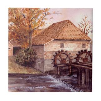 Watermill Aquarell-Malerei von Farida Greenfield Keramikfliese