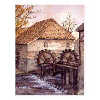 Watermill Aquarell-Malerei von Farida Greenfield Postkarte