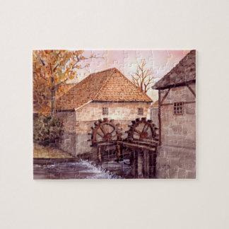 Watermill Aquarell-Malerei von Farida Greenfield Puzzle