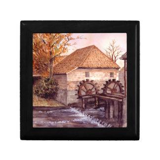 Watermill Aquarell-Malerei von Farida Greenfield Schmuckschachtel