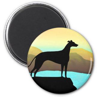 Waterside-Windhund-Hundelandschaft Kühlschrankmagnet