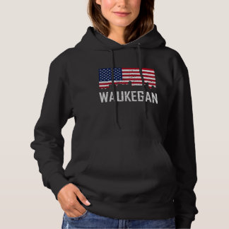 Waukegan Illinois Skyline-amerikanische Flagge Hoodie