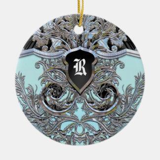 Waydhill Brooke viktorianisches Monogramm Rundes Keramik Ornament