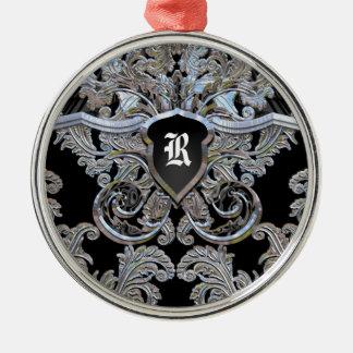 Waydhill vorzügliches viktorianisches Monogramm Rundes Silberfarbenes Ornament