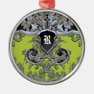 Waydhill Weinberg-Monogramm viktorianisch Rundes Silberfarbenes Ornament