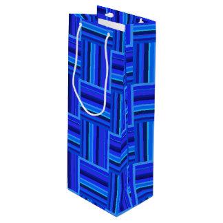 Webartmuster der blauen Streifen Geschenktüte Für Weinflaschen