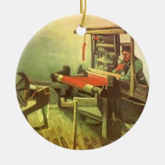 Weber, der verlassenes spinnendes Rad Vincent van Keramik Ornament