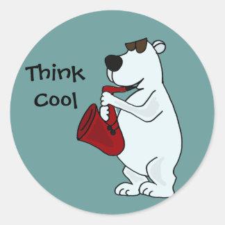 WECHSELSTROM, cooler polarer Bär, der den Runde Sticker