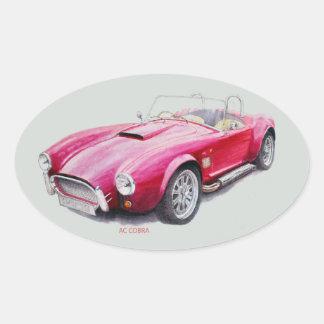 Wechselstrom-Kobra-rotes klassisches Sport-Auto Ovaler Aufkleber