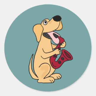 WECHSELSTROM, Welpen-Hund, der Saxophone-Cartoon Runde Sticker