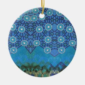 Wecken des Blaus Rundes Keramik Ornament