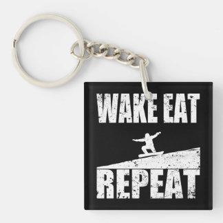 Wecken Sie essen die Snowboard-Wiederholung #2 Schlüsselanhänger