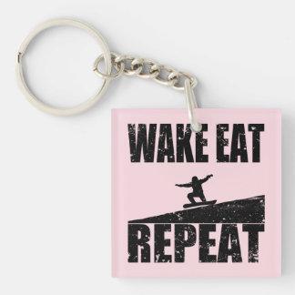 Wecken Sie isst Snowboard-Wiederholung #2 Schlüsselanhänger