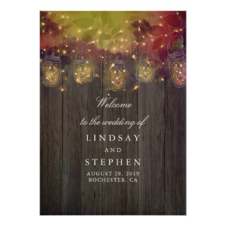 Weckglas beleuchtet Hochzeits-Willkommensschild Poster