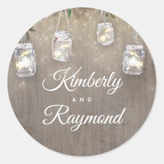 Weckglas beleuchtet rustikale Hochzeit Runder Aufkleber