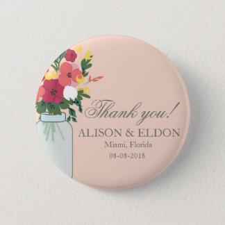 Weckglas-Hochzeits-Einladung - Pastellaprikose Runder Button 5,1 Cm