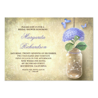 Weckglas mit blauer Blume-Brautdusche lädt ein 12,7 X 17,8 Cm Einladungskarte