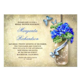 Weckglas mit blauer Blume-Brautdusche lädt ein Individuelle Einladungen