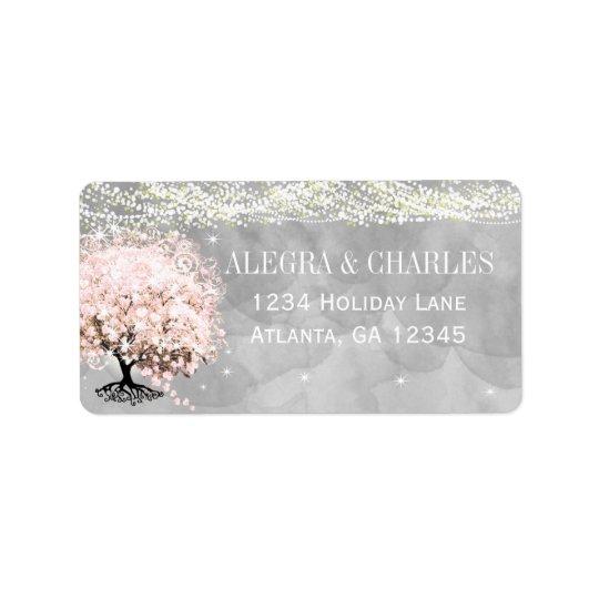Weckglas-rosa Herz-Blatt-Baum auf grauem Aquarell Adressaufkleber