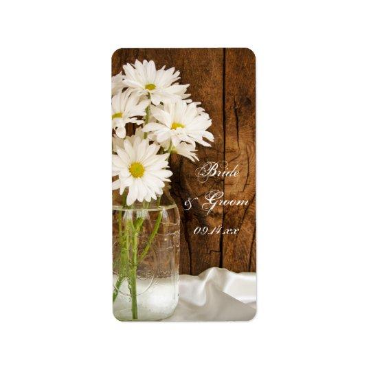 Weckglas und weiße Gänseblümchen-Land-Hochzeit Adressaufkleber