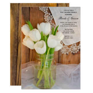 Weckglas-weißer Tulpe-Land-Posten-Hochzeits-Brunch 12,7 X 17,8 Cm Einladungskarte