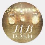 Weckglasschnur beleuchtet Hochzeitsaufkleber Runder Aufkleber