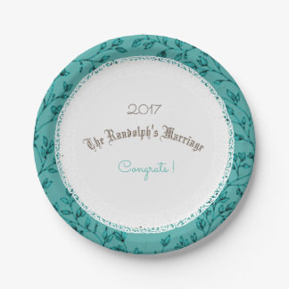 WEDDING-ANNIVERSARY-LEAVES-BLUE-TEMPLATE PAPPTELLER 17,8 CM