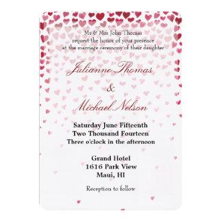 Wedding Aquarell-fallende Herzen Individuelle Ankündigung