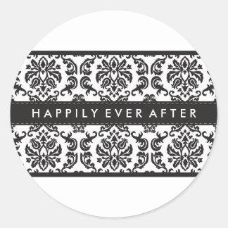WEDDING:: AUFKLEBER-SIEGEL:: Damastschwarzes Runder Aufkleber